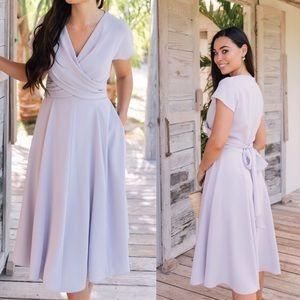Gal Meets Glam Seraphina Wrap Style Midi Dress